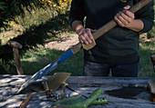 Gartengeräte im Herbst reinigen, Frau reinigt Spatenstiel mit Schmirgelpapier
