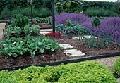 Gemüsegarten mit Beeteinfassung aus Brettern, Beete mit Mulch und Wege mit Kies