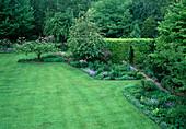 Rasenfläche begrenzt von Beeten mit Stauden, kleiner Weg führt durch Hecke mit Torbogen, blühende Rhododendron im Schatten unter grossen Bäumen
