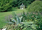 Blick vom Staudenbeet mit Hosta (Funkie), Rosa (Rose), Nepeta (Katzenminze), Glechoma (Gundermann) und Agave über Rasen auf weissen Pavillon mit Sitzgruppe, Betula pendula 'Youngii' (Hängebirke)
