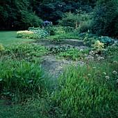 Naturteich mit Pontederia cordata (Hechtkraut), Sagittaria latifolia (Pfeilkraut), Oenanthe aquatica (Wasserfenchel), Menyanthes trifoliata (Fieberklee), Beete mit Stauden