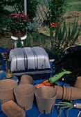 Tomatenaussaat 7. Step: Abgedeckte Aussaatschale mit bereits mit Kondens- wasser beschlagener Haube erhäüt die Luftfeuchtigkeit - bessere Keimung 7/7