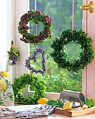 Herbal wreaths on the kitchen window