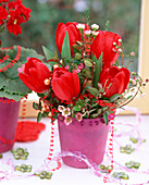 Tulipa 'Red. Paradise' / Tulpen, Chamelaucium und Myrtus
