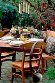 Tischdekoration 'Waidmannslust', Stuhl mit Horn