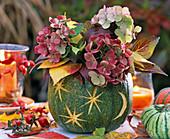 Cucurbita (Kürbis), ausgehöhlt als Vase mit Strauß