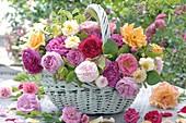 Korb mit historischen und modernen Rosen