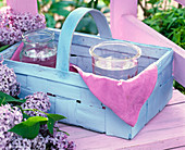 Lilac in the blue woodchip basket