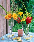 Rosa (Rosen, gelb), Antirrhinum (Löwenmäulchen), Argyranthemum