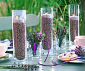 Hohe Gläser mit Blüten von Lavandula (Lavendel) gefüllt