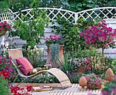 Terrassenbeet mit mediterranem Ambiente, Korbliege