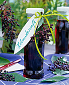 Bottles with Sambucus (elderberry) berries juice