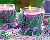 Kerzengläser mit Lavendel und Wollziest: 5/5