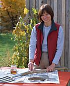 Pflege von Gartengeräten: Frau ölt Holzgriff von Spaten ein