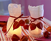 Windlichter in Butterbrottüten dekoriert mit Physalis (Lampions)