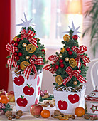 Picea glauca 'Conica' (Zuckerhutfichte) mit goldenem und roten Baumschmuck
