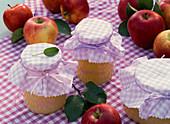 Gläser mit Apfelmus aus Malus (Äpfeln)