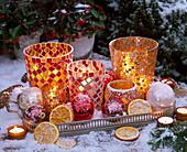 Mosaik - Gläser als Windlichter mit Citrus (getrockneten Orangenscheiben)