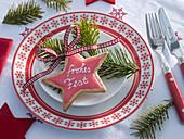 Lebkuchenstern mit Zuckerguß und Zuckerschrift 'frohes Fest'
