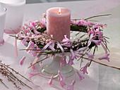 Kranz aus Cytisus (Ginster) mit Girlande aus Hyazinthenblüten an Silberdraht
