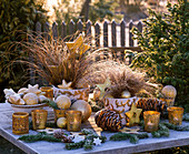 Carex 'Bronce Perfection' 'Bronce Form' (Herbstseggen) mit Christbaumschmuck