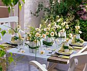 Tischdekoration mit Margeriten in kleinen Flaschen