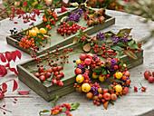 Gesammelte Herbstfrüchte und Beeren in Holzkisten und zum Herz gewickelt