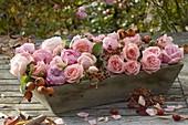 Kleiner Korb aus Holz gefüllt mit Rosa (Rosenblüten und Hagebutten)