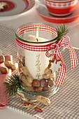 Ein - Kerzen - Adventskranz im Einmachglas