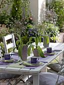 Tischdeko mit Allium schubertii (Igelkolbenlauch)