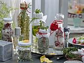 Rosen-, Thymian- und Lavendelsalz, Basilikum- und Rosmarinöl