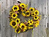 Hängendes Herz aus Sonnenblumen und Fetthenne an Holzwand