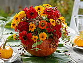 Ausgehöhlter Hokkaido-Kürbis als Vase mit Strauß