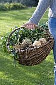 Junge Frau trägt Weidenkorb mit Gemüse