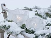 Windlichter Eissterne mit verschneiten Zweigen von Abies (Nobilistanne)