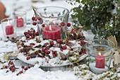 Verschneiter Herbstkranz aus Rosa (Hagebutten), Quercus (Eicheln)