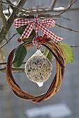 Meisenknödel in einem Ring von Zweigen