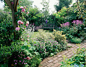 SECLUDED SEAT AND BRICK PATHWAY Beside Pergola with ROSE 'CONSTANCE SPRY'IN Pink BORDER. Designer: Roger PLATTS