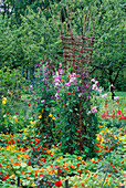 NASTURTIUMS AND Sweet PEAS CLAMBER OVER A WICKER SCULPTURE at THE Rosendal Garden Festival IN Stockholm, SWEDEN