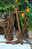Rusty ANCHOR NEXT TO DRIFTWOOD BENCH with PATTERNED GRAVEL FLOOR, VIOLAS & MARIGOLDS. Warren Farm CENTRE'S 'THE Essence of LIFE' GARDEN. DES: ROSAMOND PAGE, CHELSEA