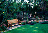 WOODEN BENCH with ANGULAR Formal LAWN, TERRACOTTA Pink RENDERED WALLS, Apple TREE, PHORMIUM TENAX PURPUREUM, SEDUM, Verbena BONARIENSIS. DESIGN: Sarah LAYTON
