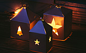 CHRISTMAS CANDLE LANTERNS Made From Silver CARD