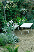 LAUNA SLATTERS Garden, OXFORDSHIRE: White TABLE AND BENCH IN GRAVEL Garden SURROUNDED by CLEMATIS 'PAUL FARGES', NICOTIANA SYLVESTRIS, STACHYS BYZANTINA AND A Metal Tulip