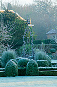 West Green HOUSE Garden, Hampshire: FROSTED CLIPPED Box SURROUNDS an Old WELL - HEAD IN THE WALLED Garden IN Winter