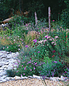 Designer Clare MATTHEWS - Devon Garden - THE WALLED Garden with WOODEN BENCH, STIPA TENUISSIMA, SLATE, MONARDA 'BEAUTY of COBHAM', SCABIOUS COLUMBARIA 'NANA', Achillea 'LOVE Parade