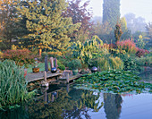 VIEW ACROSS THE LILY POND with A WOODEN PONTOON, Rock SCULPTURES AND an Agave IN A CONTAINER. Designer: JOHN MASSEY
