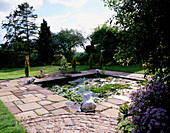 LILY POND with Four MARBLE SPOUTING FROGS. PARSONAGE, OMBERSLEY, WORCESTERSHIRE
