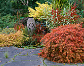 SMALL POND with Acer DISSECTUM AND Granite Urn RESTING IN AUTUMNAL BORDER, Designer: BRIAN CROSS, LAKEMOUNT, IRELAND