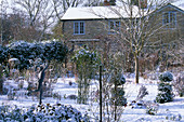 VIEW From THE Garden TO THE HOUSE IN SNOW. WOODCHIPPINGS, NORTHAMPTONSHIRE. DECEMBER