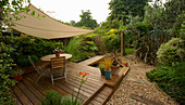 Canvas CANOPY IN KATHY Taylor'S SMALL Town Garden, LONDON. DECKING, SHADE, TABLE AND CHAIRS, GRAVEL
